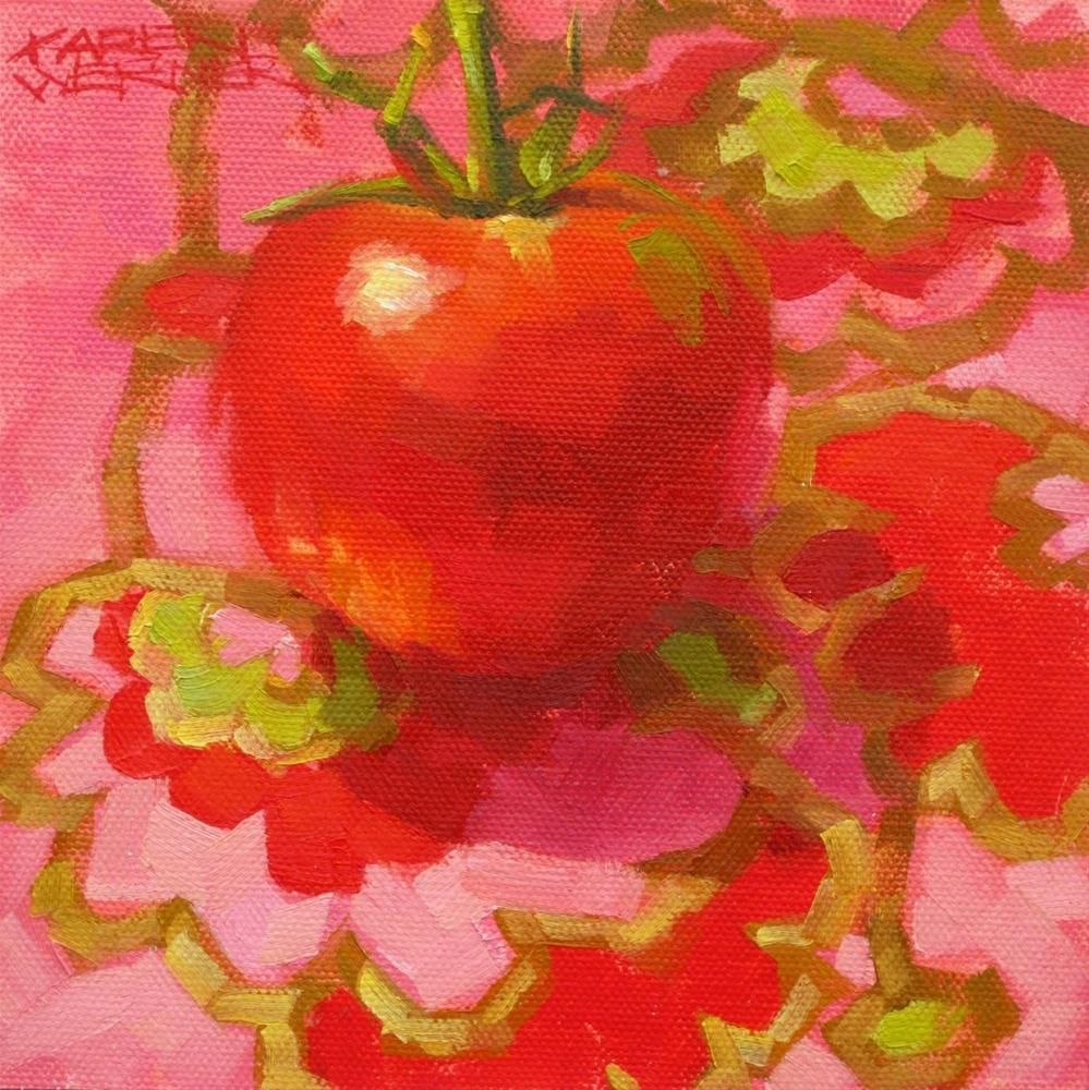 """""""Party Girl Tomato"""" original fine art by Karen Werner"""