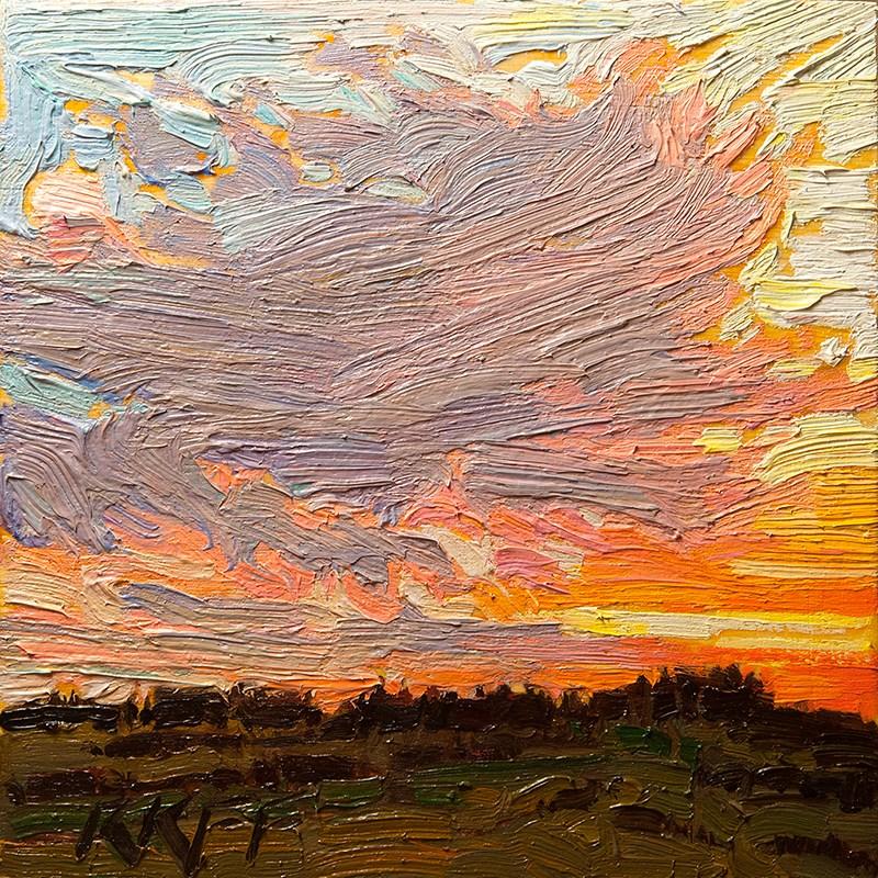 """Sunset And Fields:  6x6 oil on panel"" original fine art by Ken Faulks"