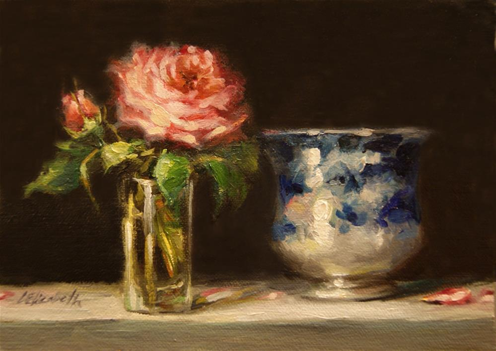"""Rose with Flow Blue Cup,  Oil on 5x7 Linen Panel"" original fine art by Carolina Elizabeth"