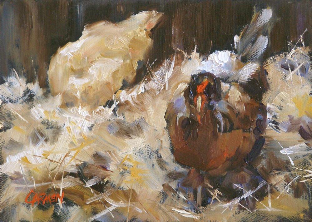 """Chikins, 5x7 Oil"" original fine art by Carmen Beecher"