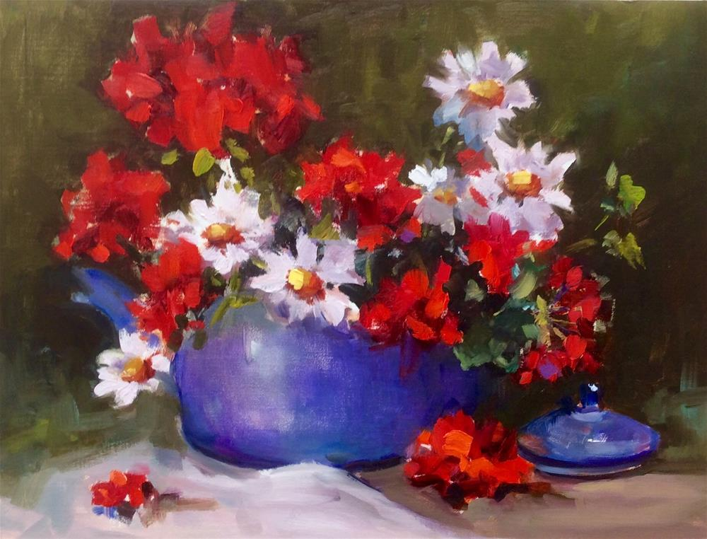 """Daisies and Geraniums"" original fine art by Laurie Johnson Lepkowska"