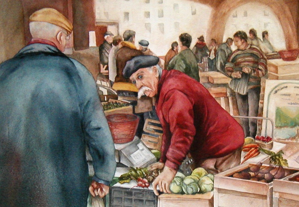 """Market News"" original fine art by Diane Fujimoto"