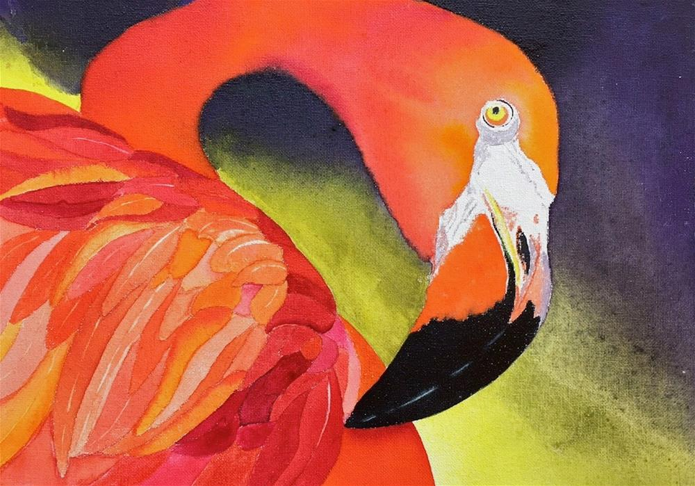 """Flaming Flamingo"" original fine art by Dana Richards"