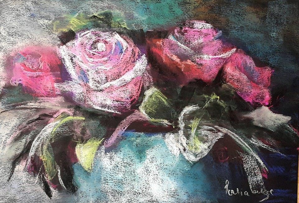 """Roses in pastel"" original fine art by Rentia Coetzee"