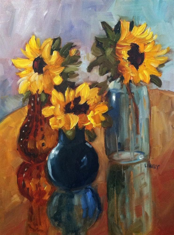 """Marsha's Sunflowers"" original fine art by Libby Anderson"