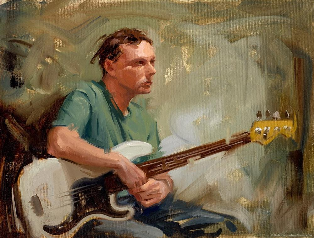 """Bass Player"" original fine art by Rob  Rey"
