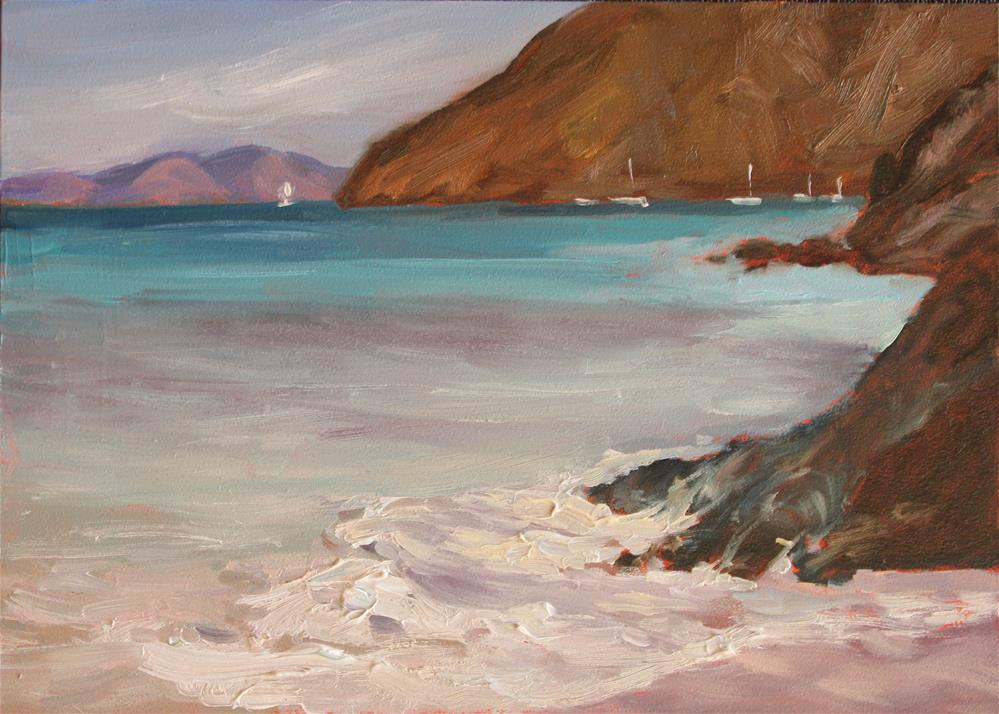 """Glimpse of Maho Bay"" original fine art by Claudia L Brookes"
