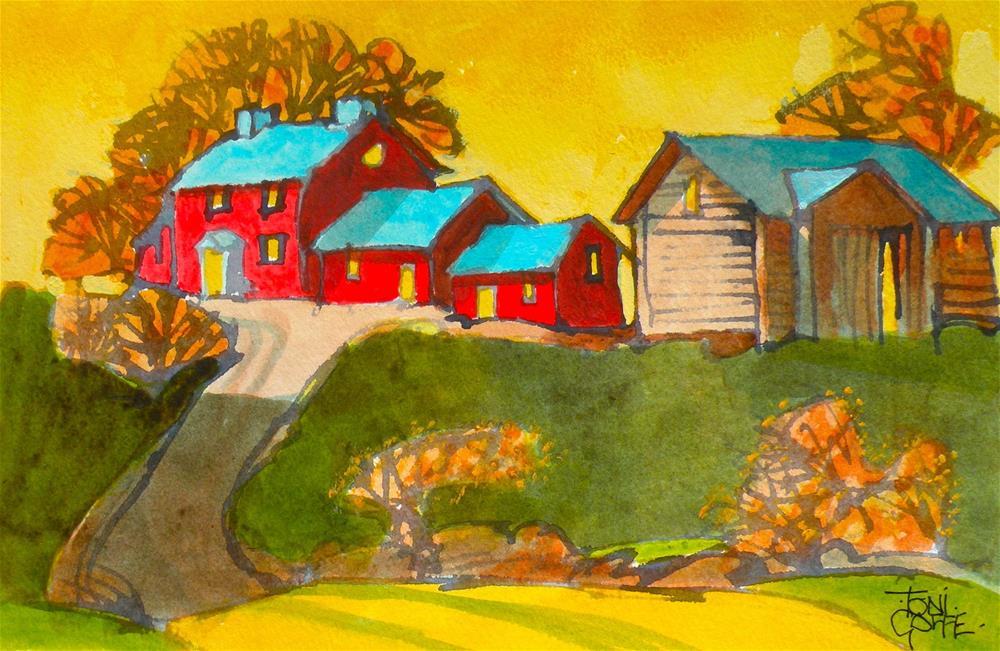"""Sunlit Farmhouse"" original fine art by Toni Goffe"