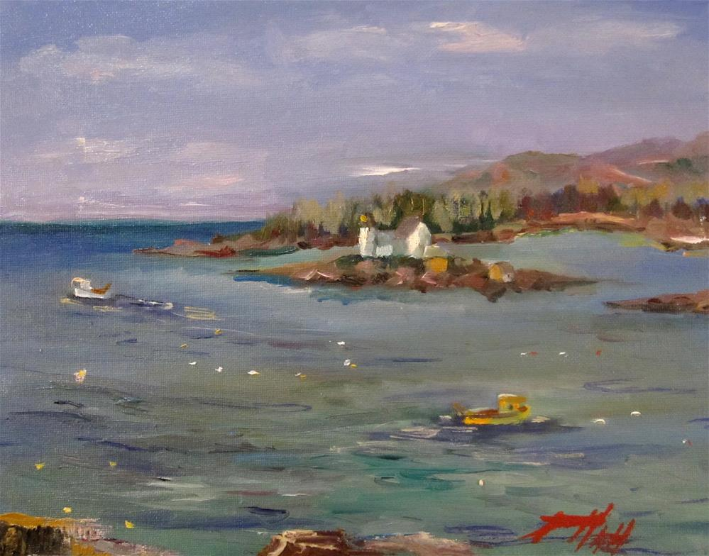 """Light House Winter Harbor ME"" original fine art by Delilah Smith"