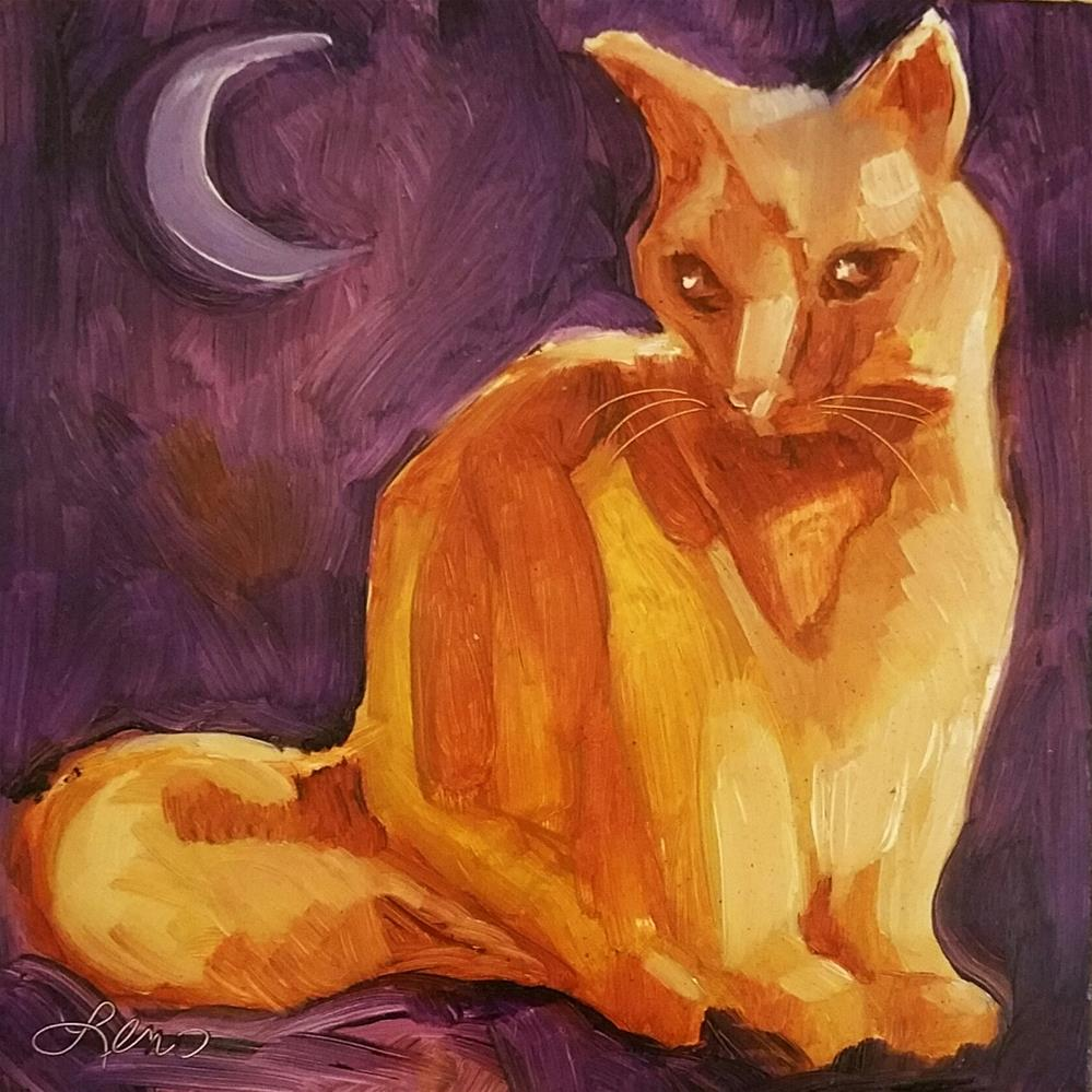 """Twilight Kitty"" original fine art by Leni Tarleton"