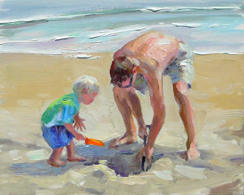 """Sand Fun,figure,oil on canvas panel,8x10,price$400"" original fine art by Joy Olney"