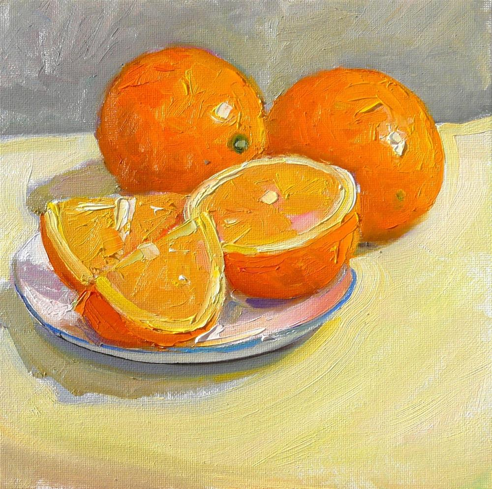 """Oranges on a Plate,still life,oil on canvas,8x8,price $300"" original fine art by Joy Olney"
