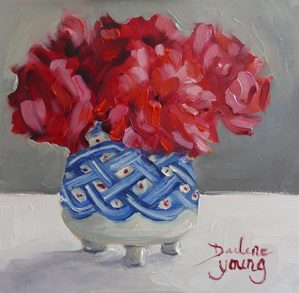 """845 Carnations in Robert Amos Pottery, oil on board, 6x6"" original fine art by Darlene Young"
