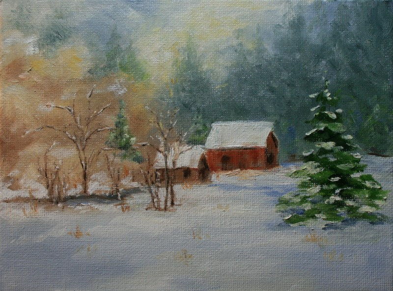 """Red Barn in Winter"" original fine art by Jean Nelson"