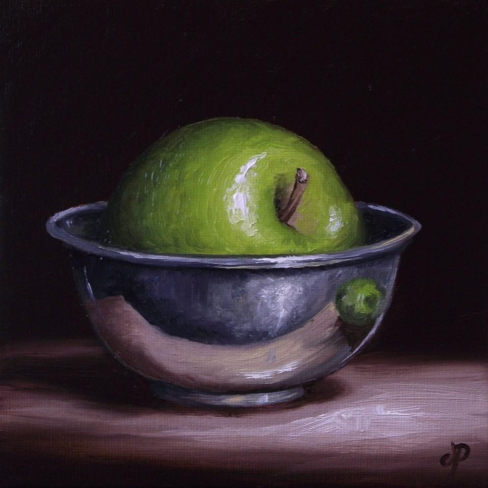 """Apple in Silver #2"" original fine art by Jane Palmer"