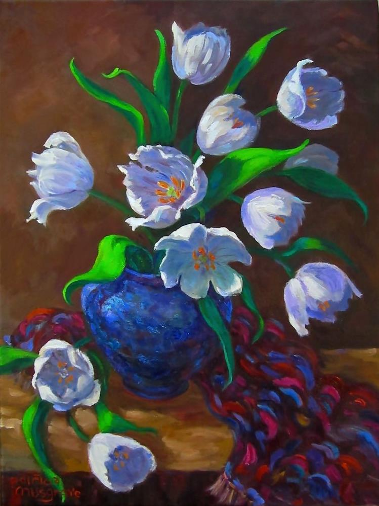 """White Tulips"" original fine art by Patricia Musgrave"