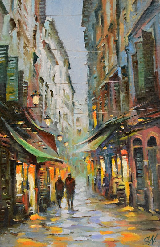 """Rain in old town – Nice, Provence, France, Cityscape street scene"" original fine art by Nick Sarazan"
