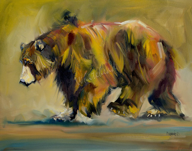"""BIG BEAR WALKING GRIZZLY ANIMAL ART ARTOUTWEST DAILY PAINTING AUGUST 30"" original fine art by Diane Whitehead"