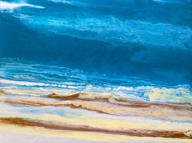 """""""Abstract Seascape Painting , Beach Art, Coastal Decor,Rolling In IV  12x16x1.5  by Colorado Con"""" original fine art by Kimberly Conrad"""