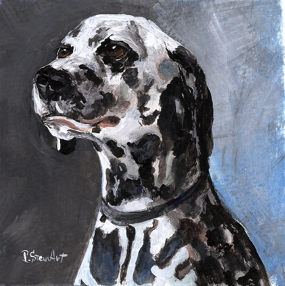 """5x5 Dalmatian Dog Pet Portrait Black and White Acrylic Penny Lee StewArt"" original fine art by Penny Lee StewArt"