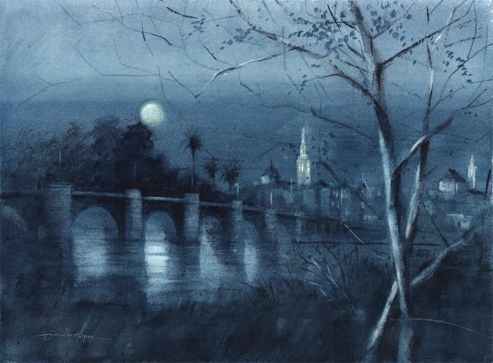 """nocturno"" original fine art by Emilio López"