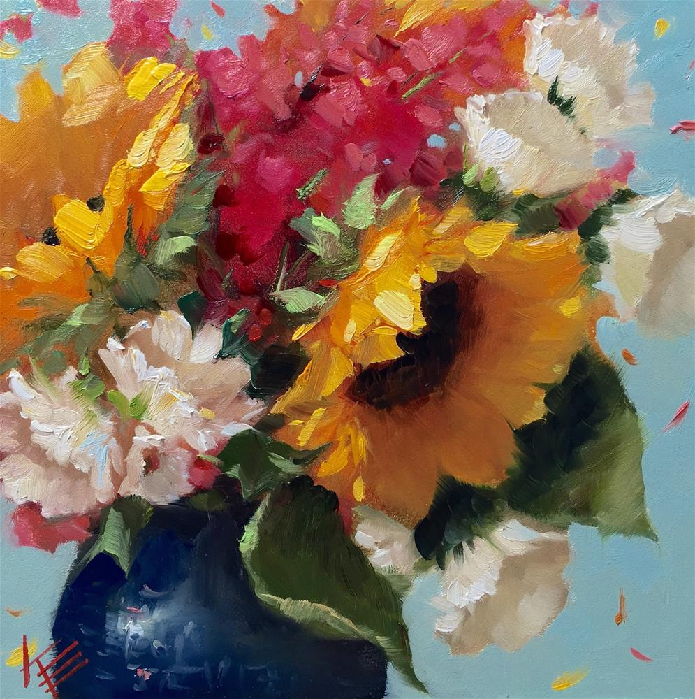 """Sunflowers & Stock on Blue"" original fine art by Krista Eaton"