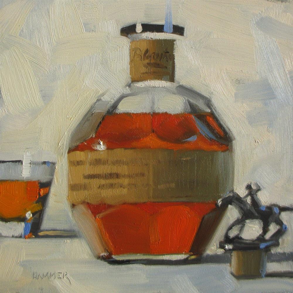 """Straight up Blanton's  6in x 6in  oil"" original fine art by Claudia Hammer"