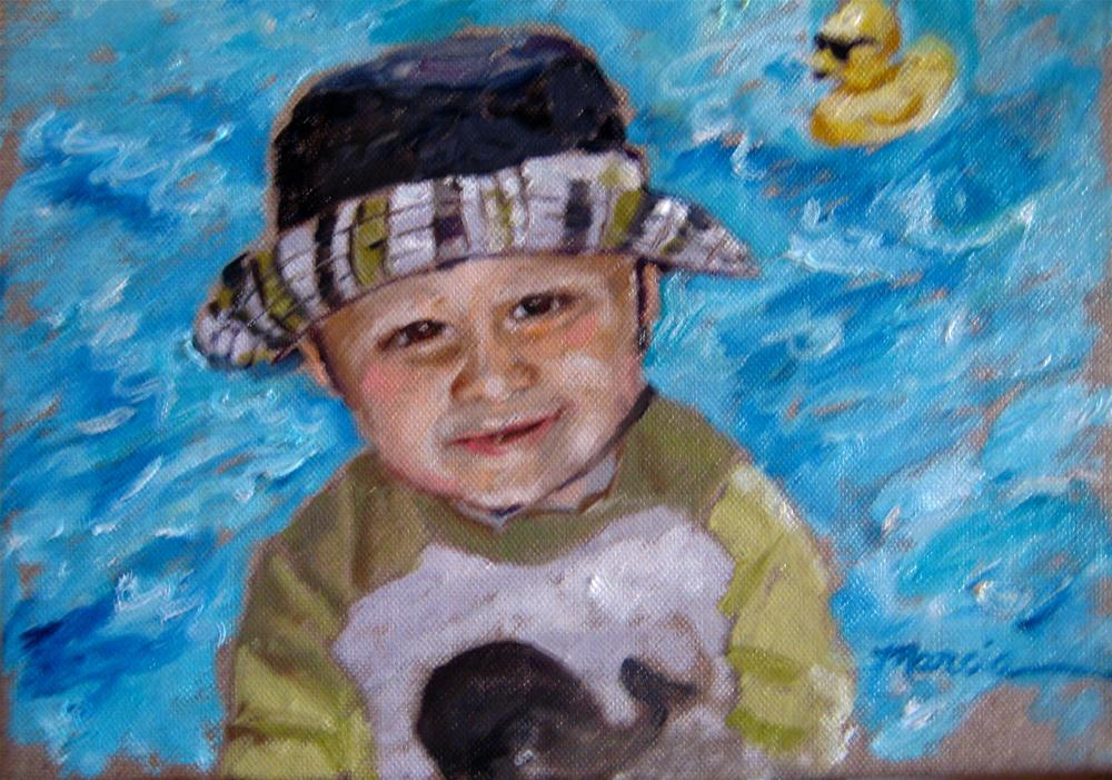 """Karter at the Pool"" original fine art by Marcia Hodges"