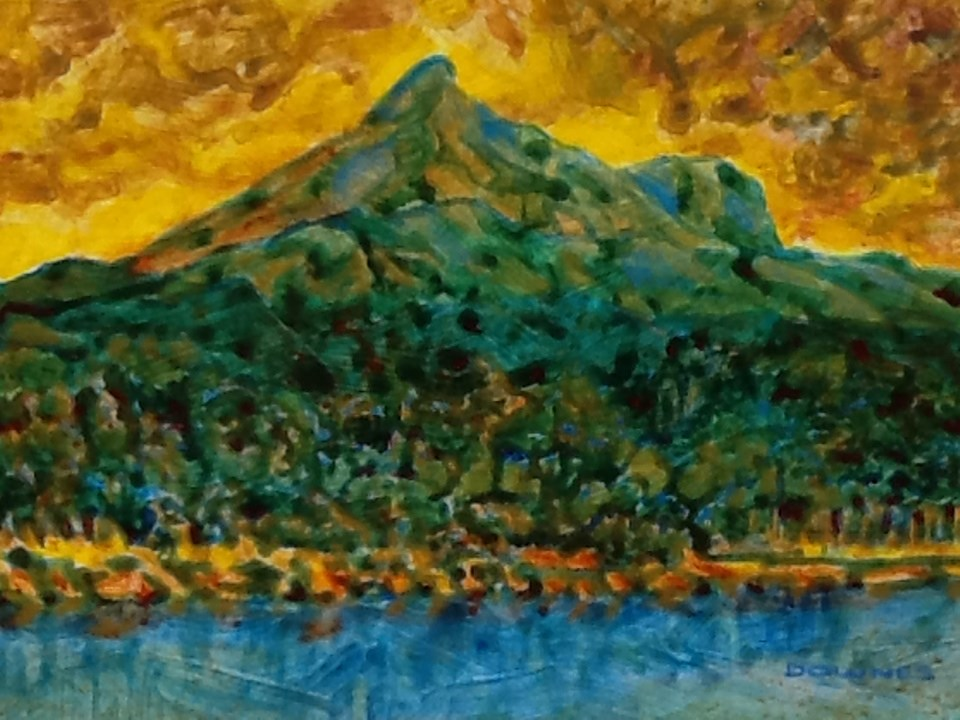 """095 MOUNT WARNING 28"" original fine art by Trevor Downes"