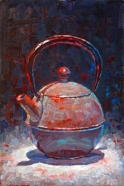 """Round Teapot"" original fine art by Raymond Logan"
