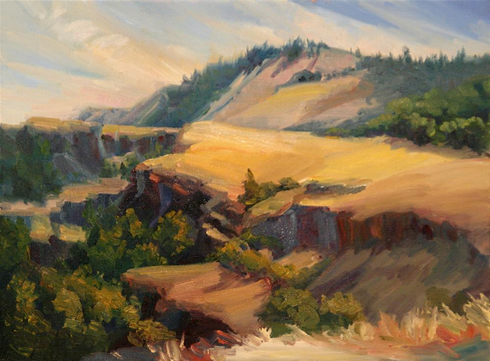 """STEPPED CLIFFS"" original fine art by Karen E Lewis"