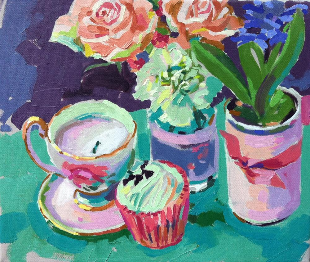 """Cupcake and roses"" original fine art by Haidee-Jo Summers ROI"