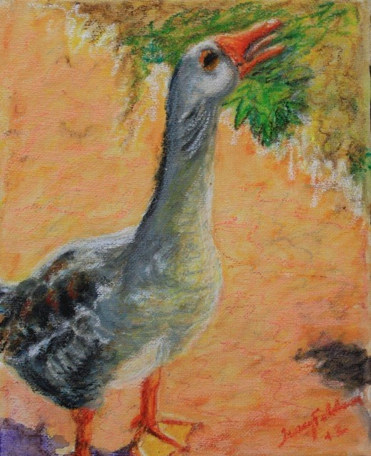 """Daily Painting 3 -- Loneliness of a Whiny Goose"" original fine art by Tracy Feldman"