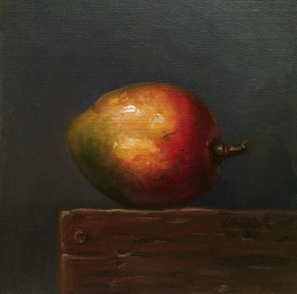 """Mango on Wooden Block,  6x6 Oil on linen Panel"" original fine art by Carolina Elizabeth"