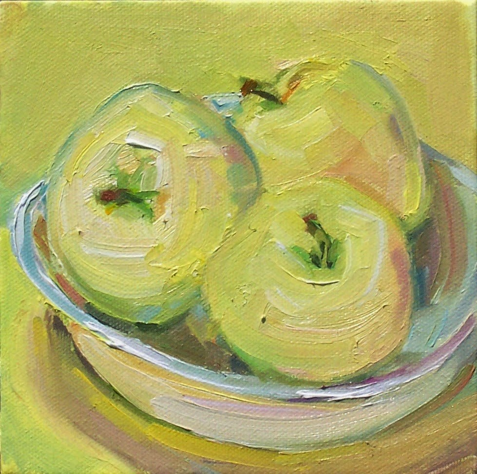 """Transparent Apples,Still life,oil on canvas,6x6,priceNFS"" original fine art by Joy Olney"