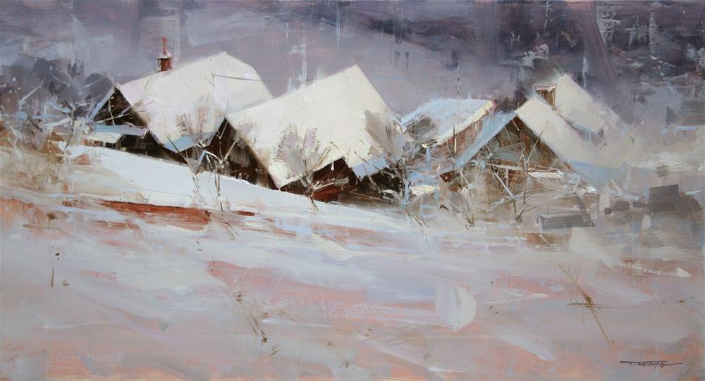 """Winter Roofs"" original fine art by Tibor Nagy"