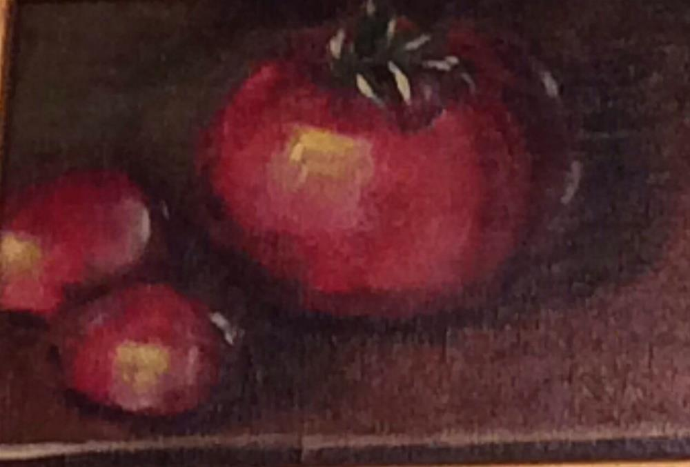 """Three Tomatoes"" original fine art by Charlotte Lough"