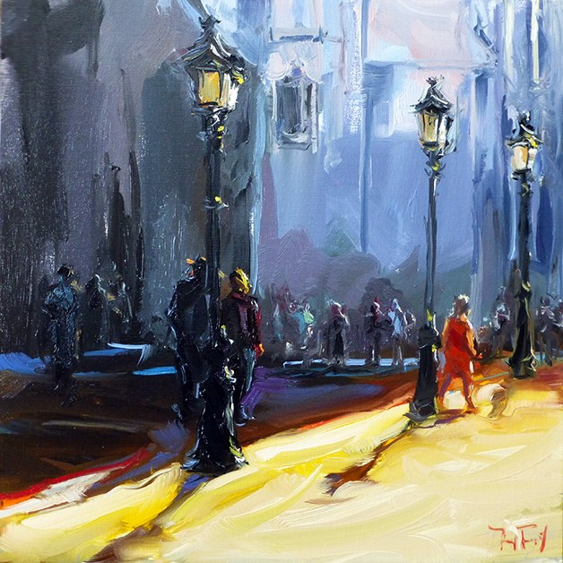 """Stadtplatz"" original fine art by Jurij Frey"