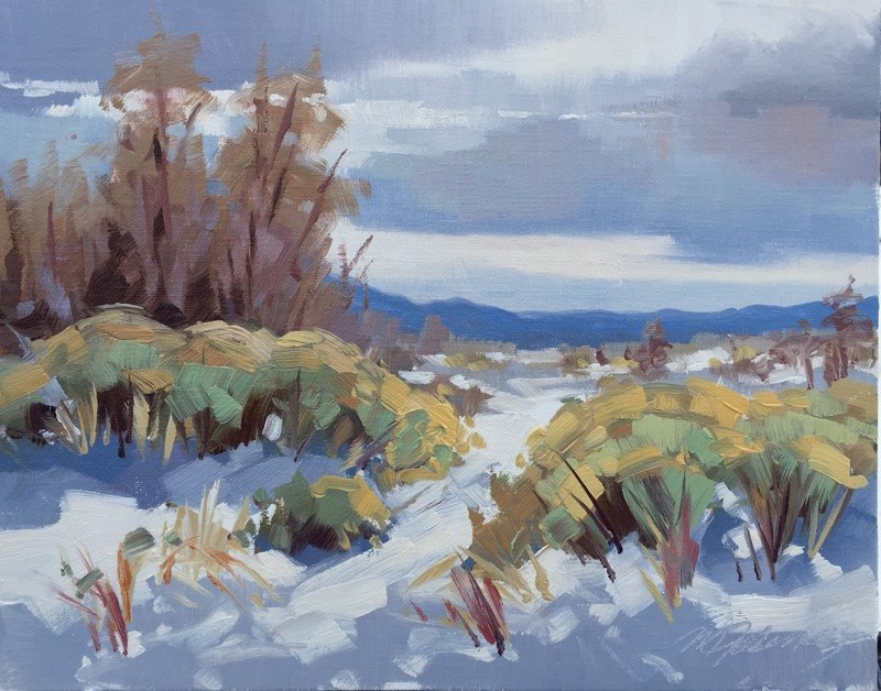 """More Snow is Coming"" original fine art by Mary Jabens"