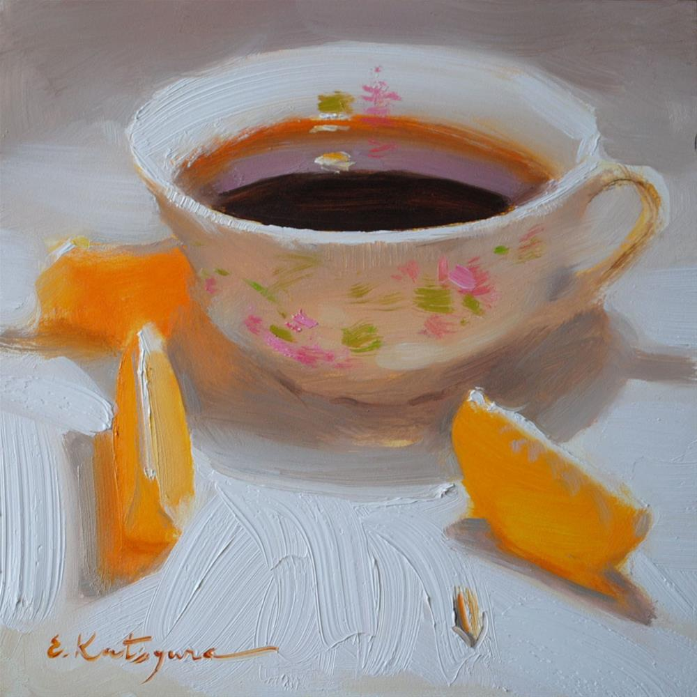 """Coffee and Mandarin Slices"" original fine art by Elena Katsyura"
