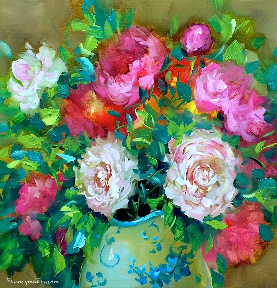 """Spring Online Earlybird Registration Closes Soon! Bloom True Peach Peonies"" original fine art by Nancy Medina"