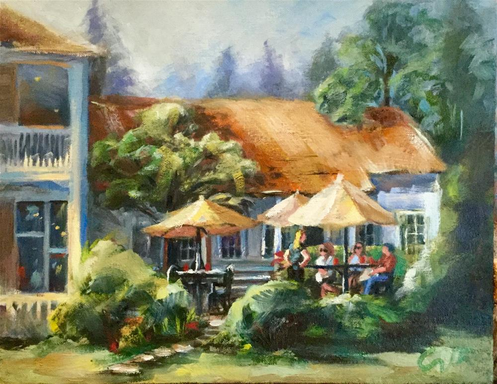 """The Courtyard at the Grant House, Officer's Row, Vancouver OR"" original fine art by Sharon Abbott-Furze"