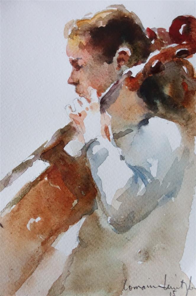 """Cello Practice"" original fine art by Lorraine Lewitzka"