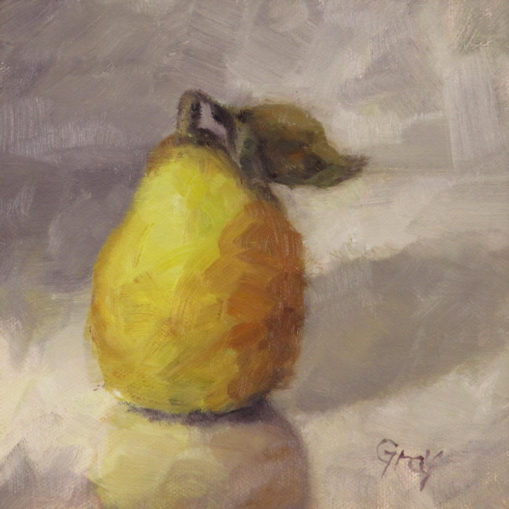 """Yellow Pear & Reflection"" original fine art by Naomi Gray"