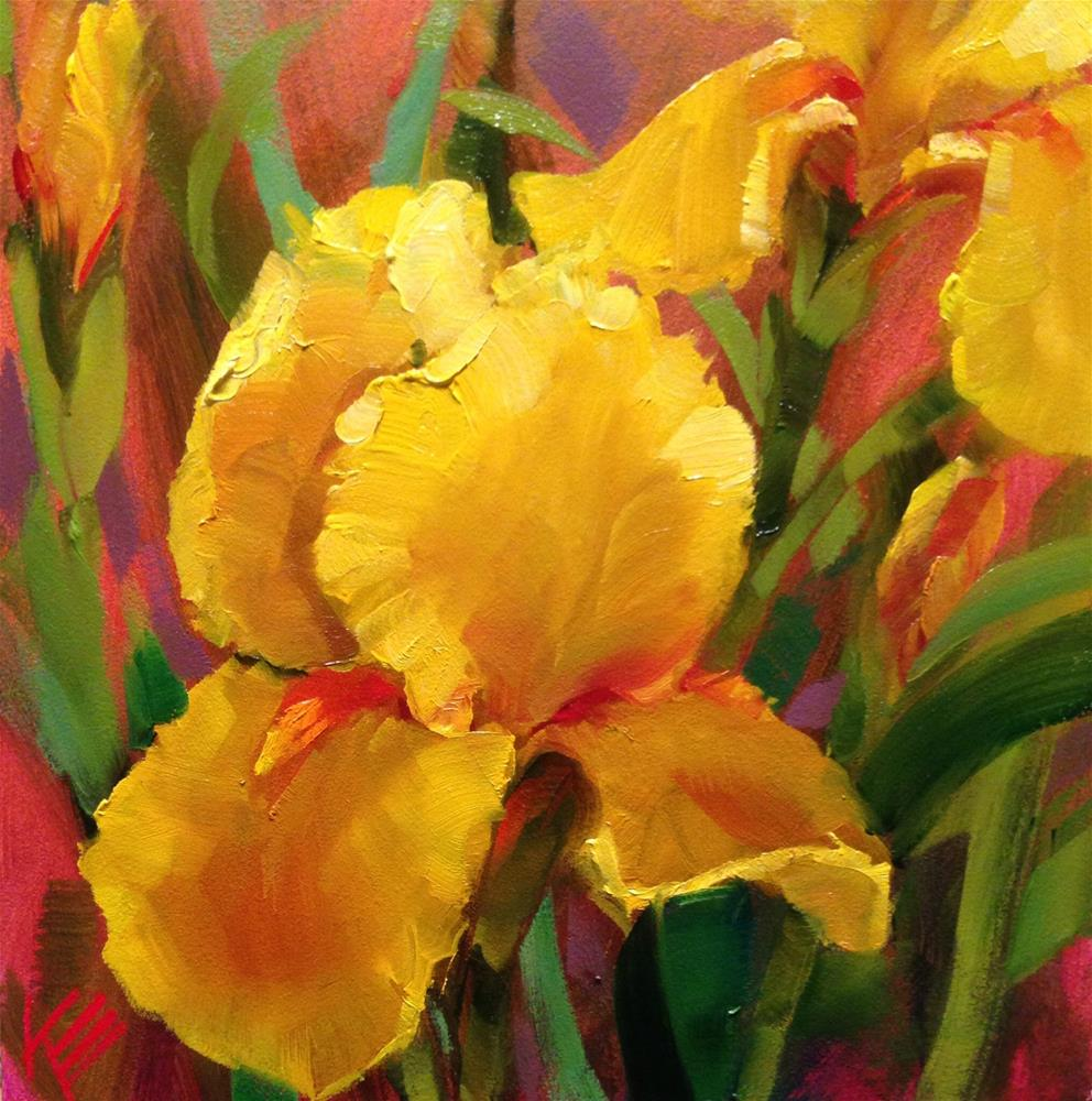"""Yellow Irises"" original fine art by Krista Eaton"