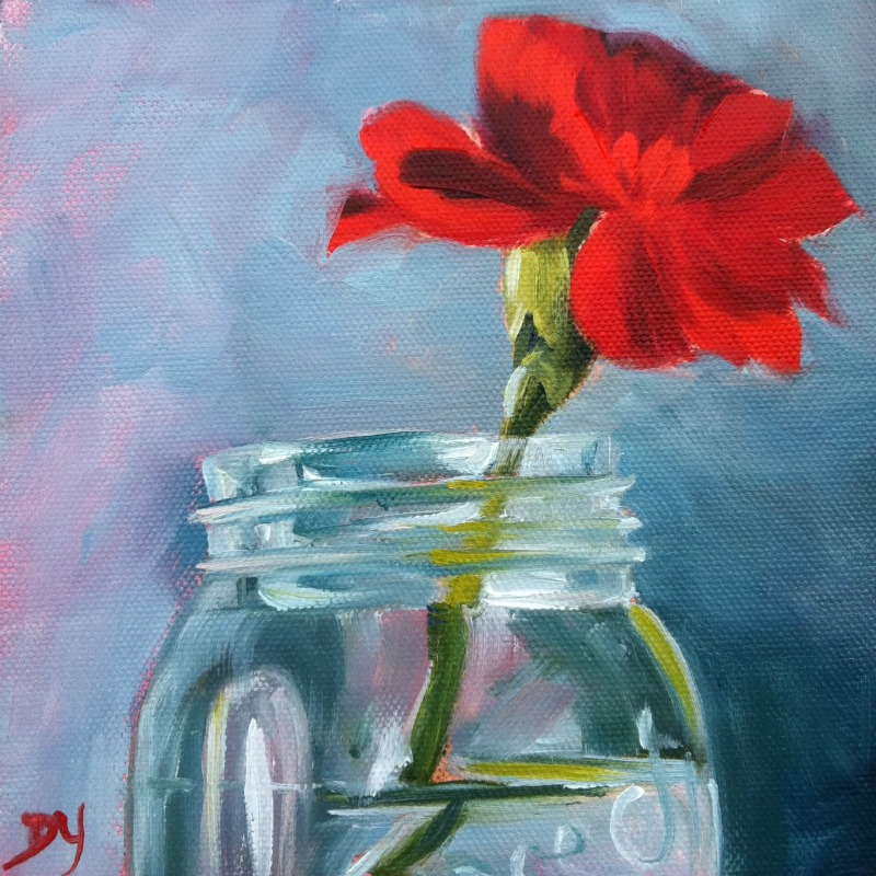 """Red Carnation, oil on canvas board, 6x6"" original fine art by Darlene Young"