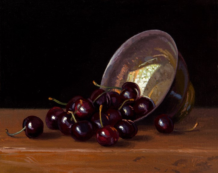 """Cherries and Silver Bowl, 8x10"" original fine art by Abbey Ryan"