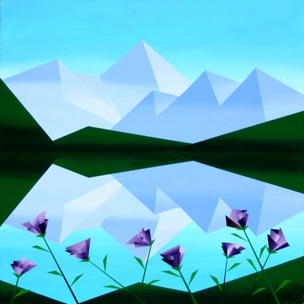 """Mark Adam Webster - Abstract Geometric Mountain Lake with Purple Flowers Acrylic Painting"" original fine art by Mark Webster"
