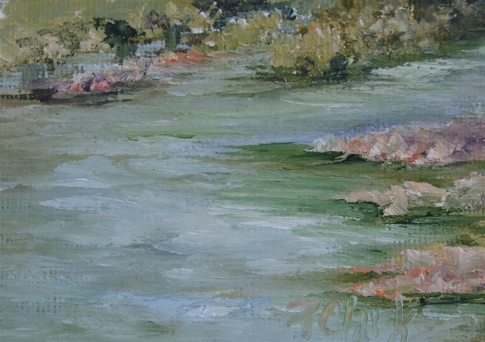 """Gentle Flowing Waters II, 2.5 x 3.5 Oil, Landscape"" original fine art by Donna Pierce-Clark"