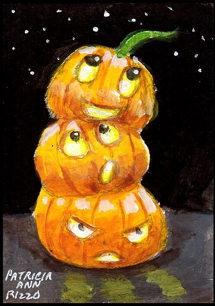 """Halloween Madness:  Silly Pumpkin Stack"" original fine art by Patricia Ann Rizzo"
